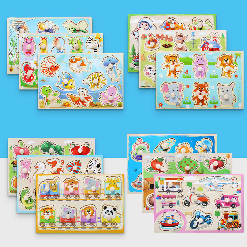 Child Puzzle Grasp Board  Puzzle Toys Boy Girl Kids Educational  Learning Toy For Children's Birthday Gifts #BL2