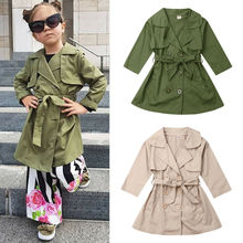 2019 Kids Baby Girl Child Wind Jacket Trench Coat Windbreaker Parka Long Sleeve Autumn Solid Overcoat Outwear girls leather coat 2018 autumn new belt pu outwear kids long trench suit collar fashion windbreaker child jacket for g