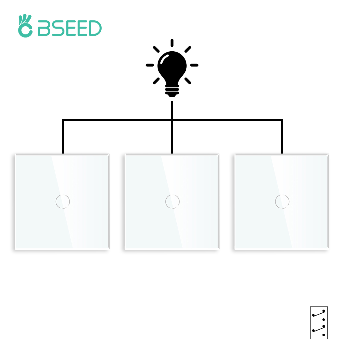 Bseed 1Gang 2way/3way Touch Switch 3Packs Light Switch White Black Golden Crystal Class Panel EU Wall Switches Waterproof Switch