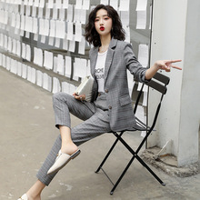 Fashion Plaid Women Blazer Suits Long Sleeve Single Breasted Blazer Pants Set Gray Office Ladies Two-piece Blazer Sets