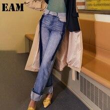 [EAM] Long Wide Leg Blue Denim Straight Jeans New High Waist Loose Women Trousers Fashion Tide Spring Autumn 2021 1DD2936