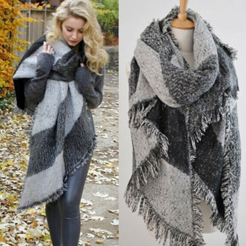 NEW Women Long Cashmere Winter Wool Blend Soft Warm Scarf Wrap Shawl Plaid Cashmere Scarf