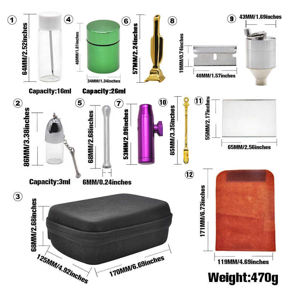 Snuff Snorter PU กระเป๋าหนังแก้วขวดยาอลูมิเนียมยาสูบ Stash Jar เครื่องเทศโลหะเครื่องบดโลหะ Snuff Snorter ช้อน