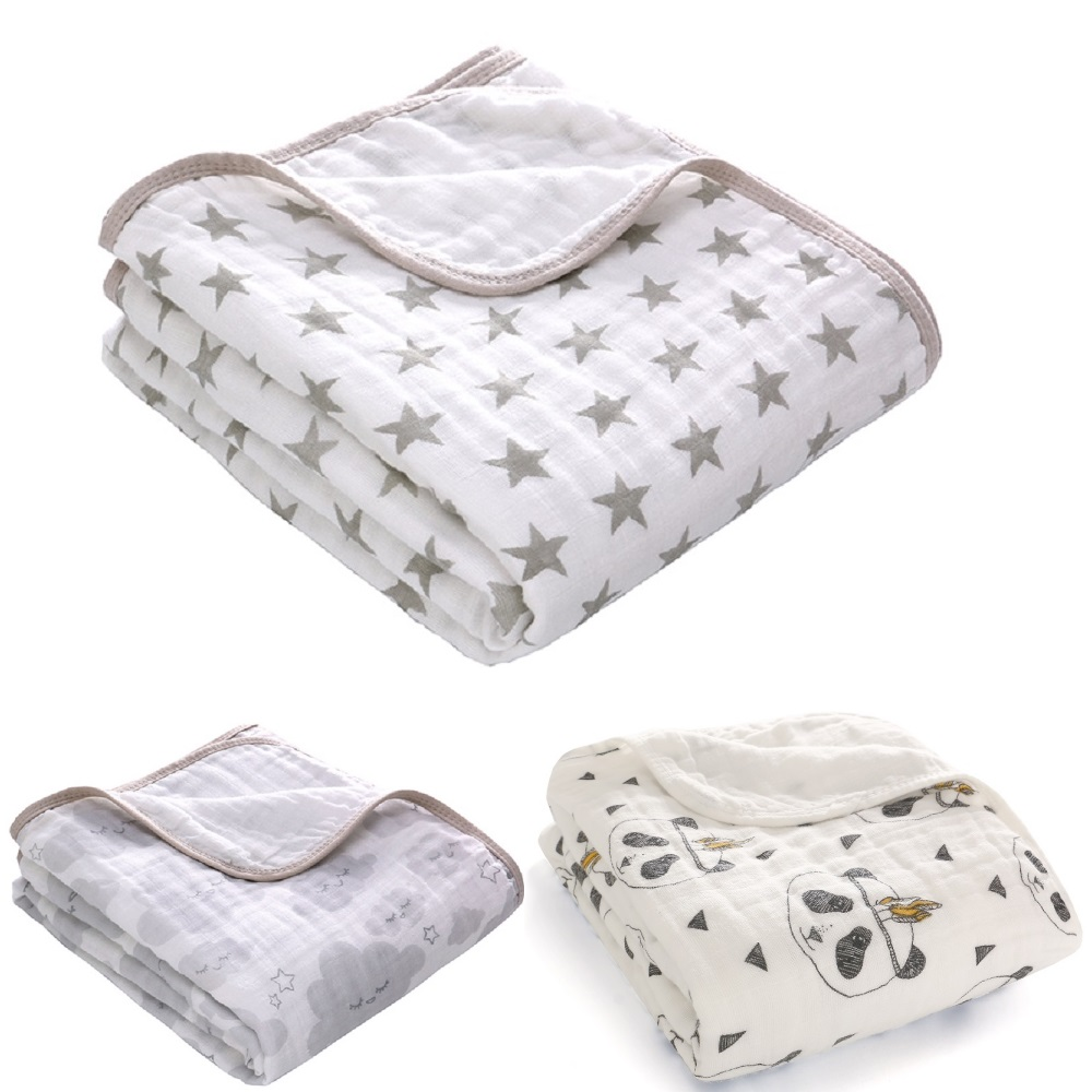 110*150cm 2-layer White Muslin Swaddle Grey Star Baby Blanket 100% Cotton Soft Nursing Cover Infant Bath Towel Panda 43.3
