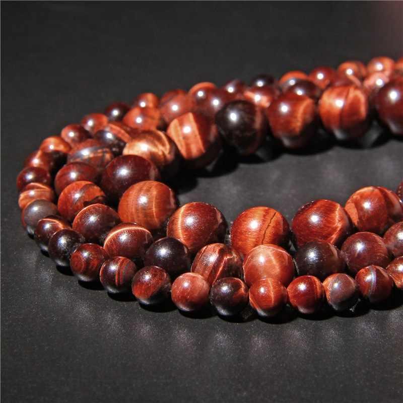 """15.5 """"AB Red Tiger Eye kamienne paciorki 6 mm 8 mm 10 mm 12 mm naturalny klejnot kamienie polerowane kule dla DIY wyroby z biżuterii na prezent"""