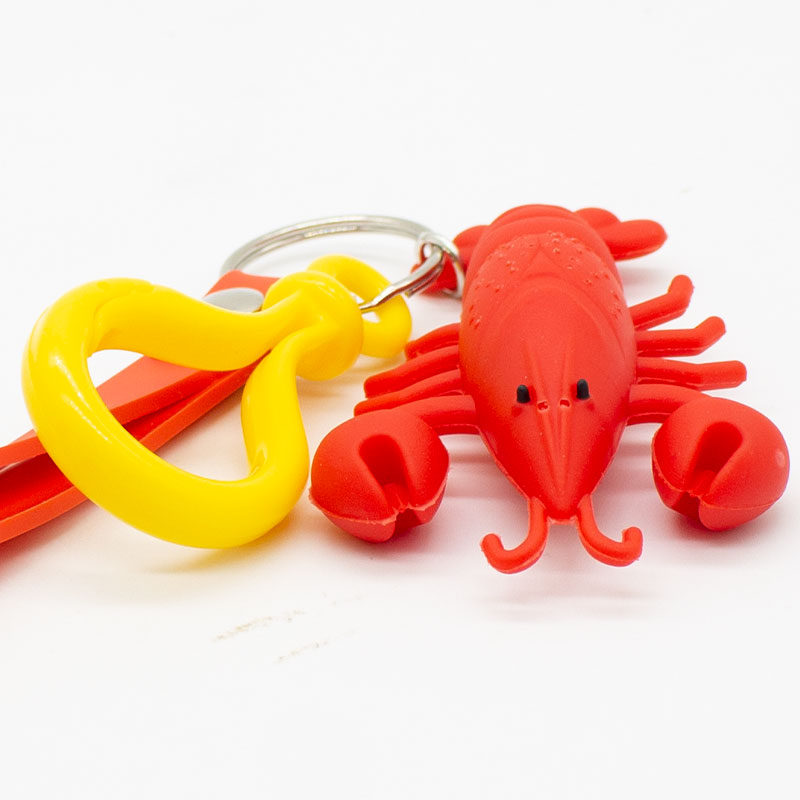 Hot sale Simulated crayfish Key Ring PVC Soft rope lobster Key Chain men and women Car keychain pendant LS1908053 in Key Chains from Jewelry Accessories