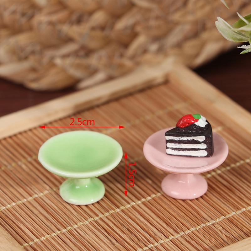 Mini sartén para postre de cerámica para casa de muñecas, soporte de pastel, bandeja de fruta, juguetes de cocina, DIY, 1:12 Comida en miniatura, 1 ud.