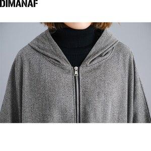 Image 5 - DIMANAF chaqueta de gran tamaño para mujer abrigo Otoño Invierno ropa de abrigo con cremallera Rebeca Vintage manga de murciélago suelta talla grande ropa con capucha