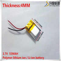 3.7V 55mAh 401215 Lithium Polymer Li-Po li ion Rechargeable Battery cells For Mp3 MP4 MP5 GPS mobile bluetooth