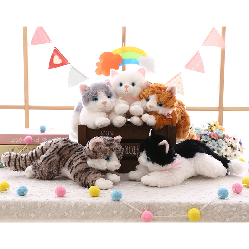 New cute plush cat white black soft stuffed plush toy animal gift for children boy girl toy gift 35-40cm