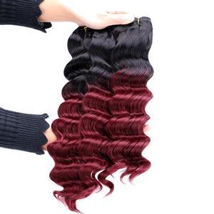 Image 2 - 12 20 אינץ שחור כדי בורדו עמוק גל שיער weave חום עמיד סינטטי שיער הרחבות