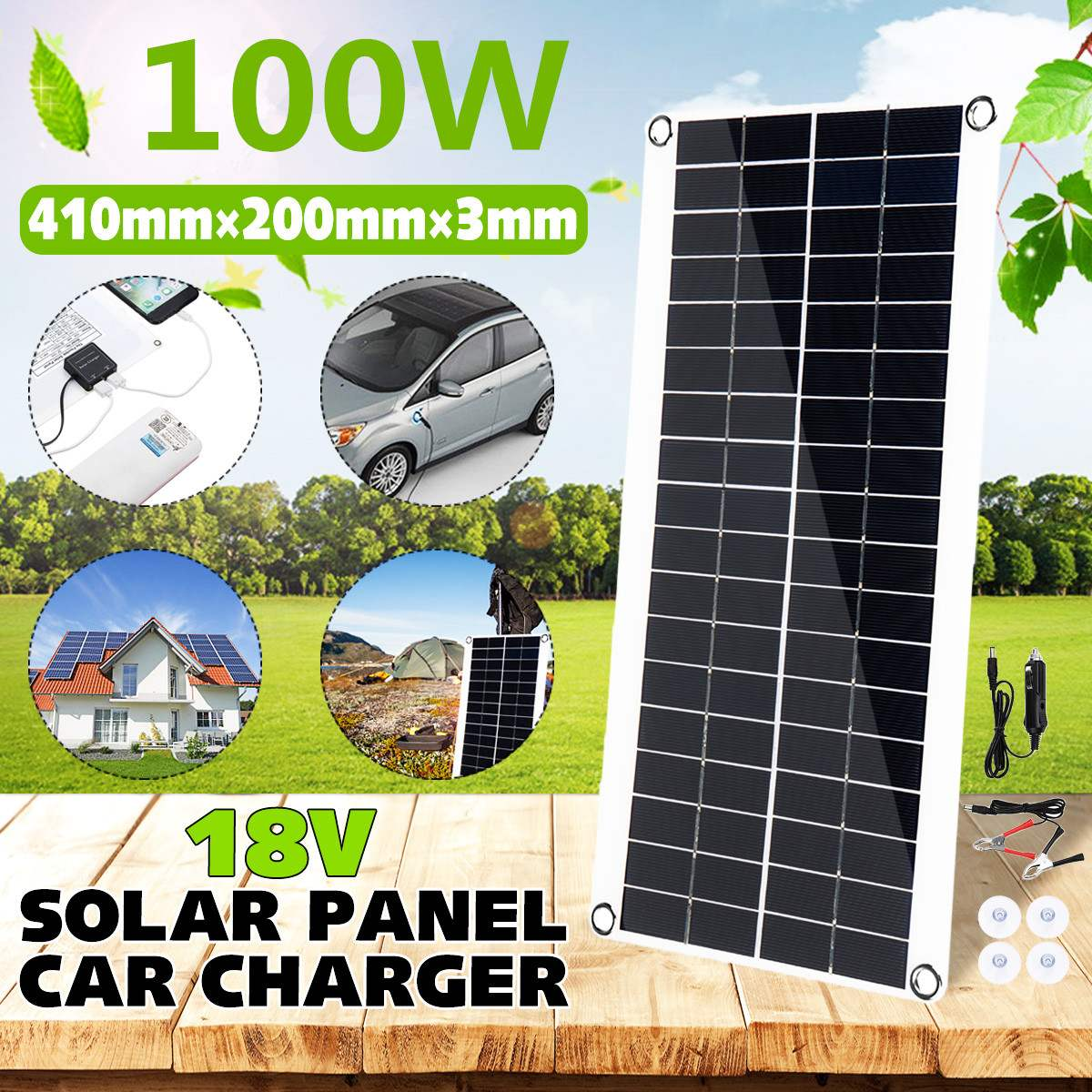 410x200mm portatil painel solar 100w 18v duplo usb power bank placa de carregamento da bateria