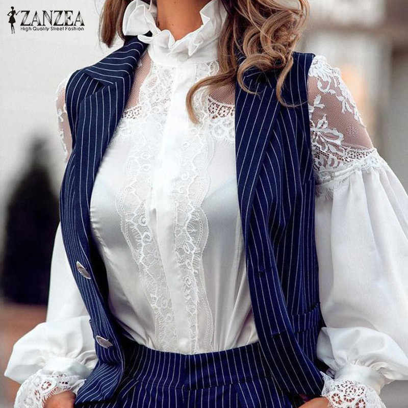 Stylish Lace Patchwork Tops Women's Ruffle Blouse 2020 ZANZEA Casual Long Sleeve Shirts Female Button Blusas Oversized Tunic