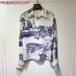 VERDEJULIAY 2020 Spring New Fashion Runway Print Blouse Luxury Pure Silk High Quality European High Street Romantic Shirt