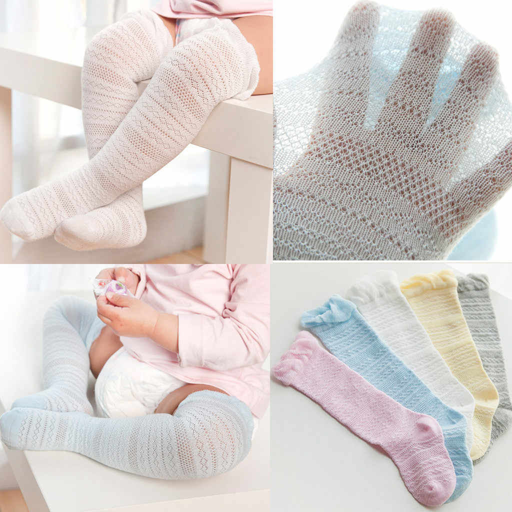 Bebé niños niñas sólido de encaje de algodón cálido medias Color caramelo sólido apretado rodilla alta antideslizante princesa medias chicas medias