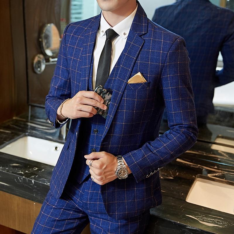 Wedding suit men Slim Fit Plaid Suit 2pc set Male Groom Blazers Pants Man Formal Business Work Wear Suits Costume Homme dress 1