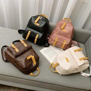 Image 1 - גבוהה באיכות נשים תרמיל עור מפוצל בית ספר נערות Bookbags נשי כתף תיק Bolsos דה Mchila דה Mujer
