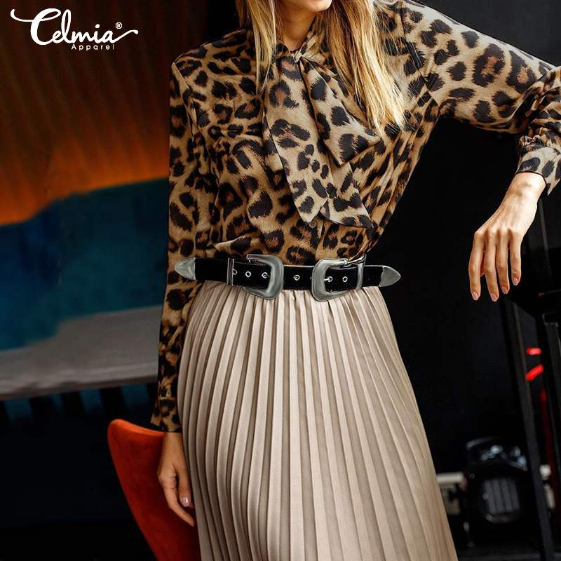 Celmia 2019 Fashion Leopard Print Tops Women Long Sleeve Blouse Casual Loose Bow Tie Tunic Shirts Ladies Elegant Work Blusas 5XL