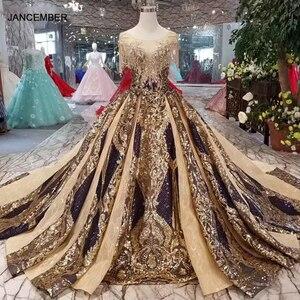 Image 1 - Vestido de noche largo de lujo LS11080 para mujer, vestidos de ocasión, cuello redondo, manga corta de cristal, encaje dorado, 2020