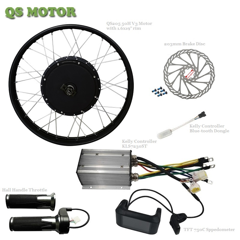 3000W E-bike motor with RIM with Kelly Controller and TFT Display