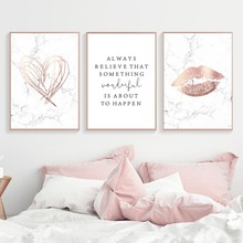 Marble Style Nordic Posters And Prints Pink Abstract Wall Art Canvas Painting Quotes Wall Pictures for Living Room Home Decor(China)