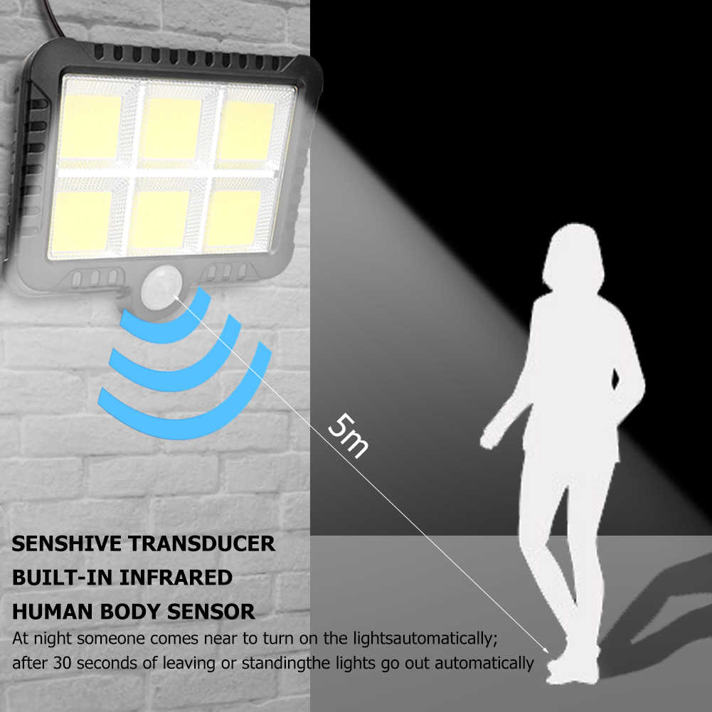 COB 120/100 ไฟ LED พลังงานแสงอาทิตย์กลางแจ้งโคมไฟพลังงานแสงอาทิตย์ Motion Sensor Street Light Night โคมไฟสปอตไลท์ Dropshipping