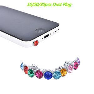 10/20/30pcs Bling Universal 3.5mm Cell Phone Earphone Plug For iPhone 6 5s/Samsung/HTC/Sony Dust Plug Headphone Jack Stopper