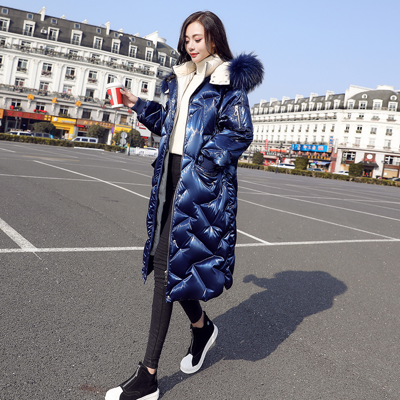 Fashion Glossy White duck   down   woman   coat   2019 Winter new Hooded Fur Collar Long   Down     Coat   Women Overcoat Thick Warm Outerwear