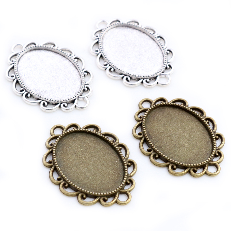 10pcs 18x25mm Inner Size Antique Silver Plated Bronze Flowers Contact Style Cabochon Base Setting Pendant Necklace Findings