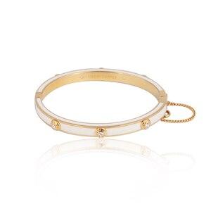 Image 1 - Европейские и американские ювелирные изделия, оптовая продажа, эмалированная цветная глазурованная Мода, простая вставка с заклепками, разноцветный браслет для девочек