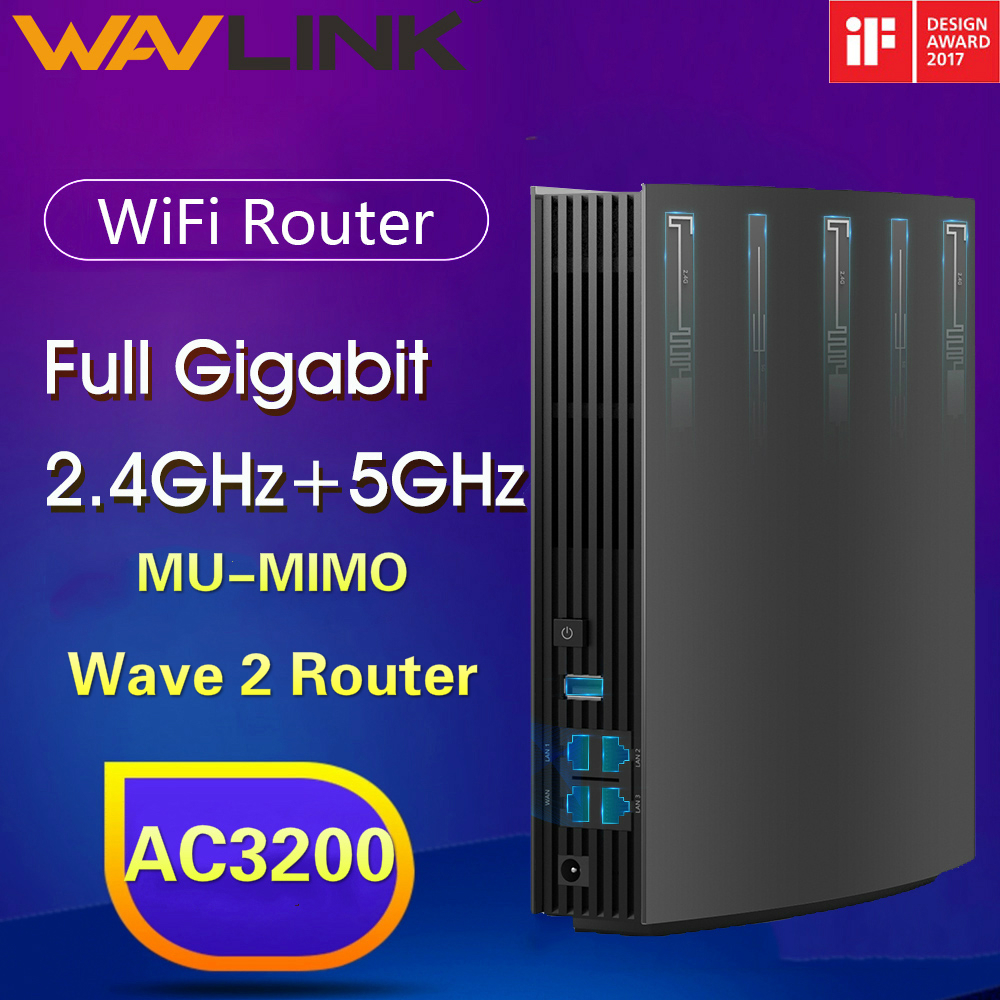 Wavlink Full Gigabit Wireless Wifi Router Wave2 MU-MIMO AC3200 Wi-Fi Repeater 5Ghz+2.4G Extender Router IF Design Award Winner