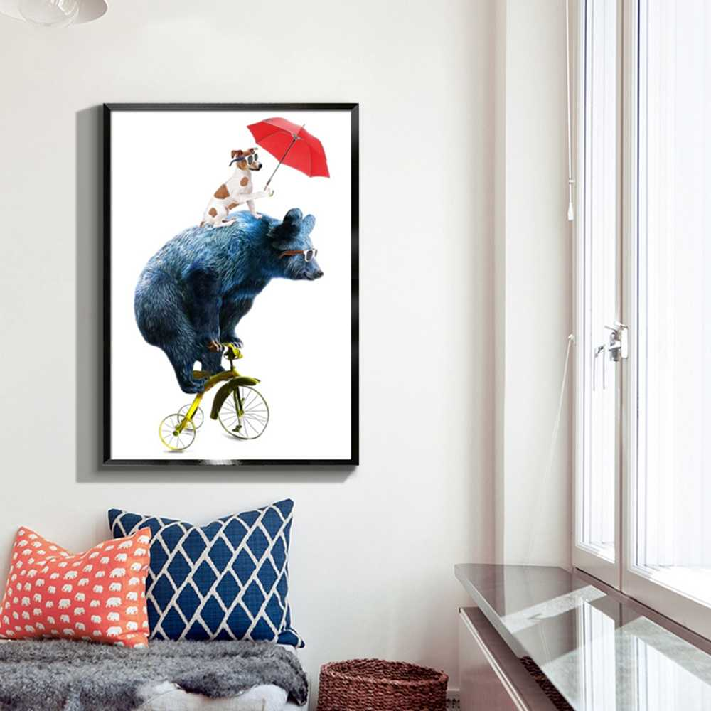 Cartoom Animals On Bikes Canvas Painting Wall Posters And Prints Picture Wall Art Poster Kids Room Decoration