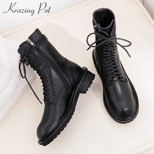 Boots Lace-Up Women Med-Heels Internet Round-Toe Krazing Pot Popular Mid-Calf L89 Side-Zip