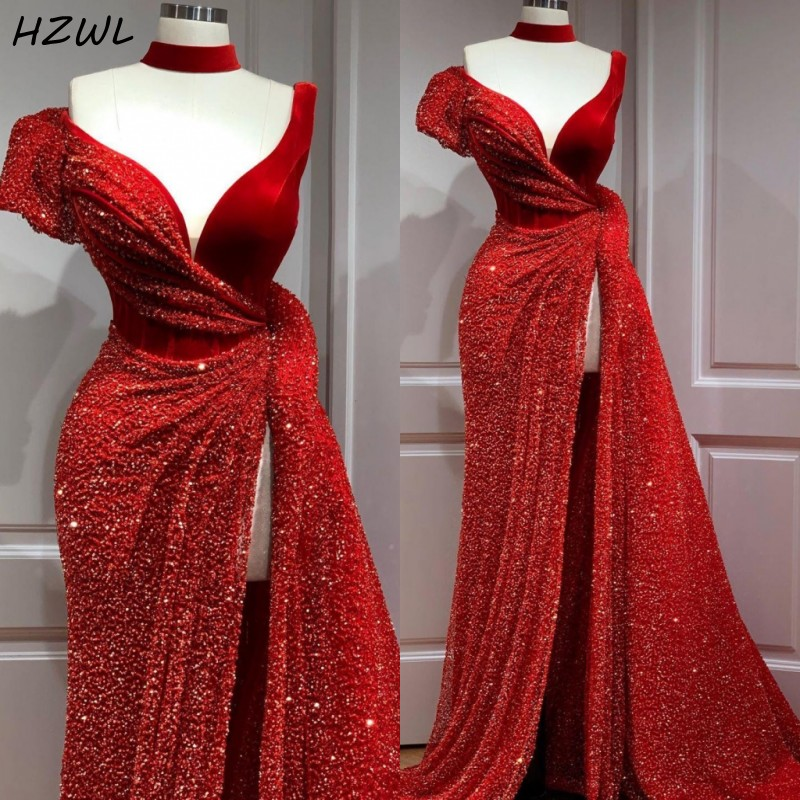 Aso Ebi Red Sequined Prom Dresses Long Straight High Split Front Evening Dress Formal Party Vestido De Festa Arabic Formal Wear