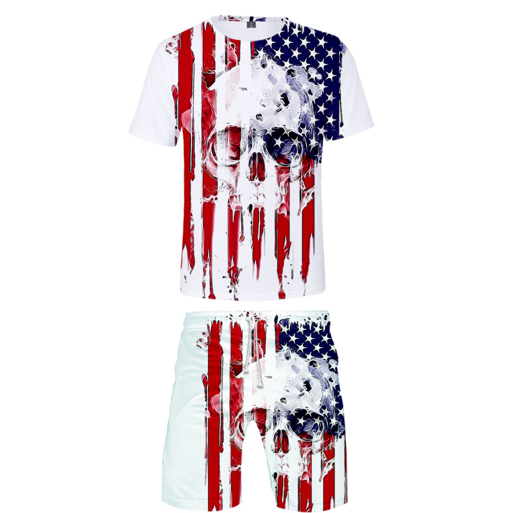 Men's Sets Hot US Independence Day Patriot 3D Tshirt And Beach Shorts Set Summer Men's Casual Short Sleeve Suit XXS-4XL