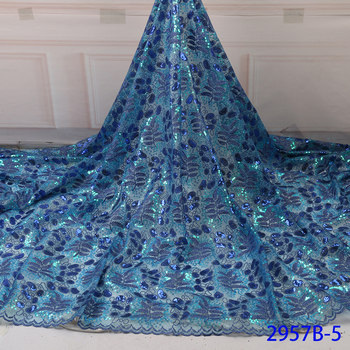 Blue Color Organza Fabric Sequence Lace Fabrics High Quality French Mesh Lace Fabric Sequins Lace Nigerian Organza Lace APW2957B