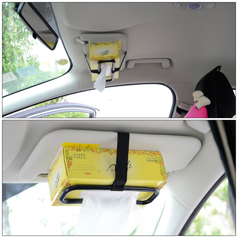 Universal Car Sun Visor Chair Back Tissue Paper Towel Box Cover Car Hanging Napkin Box Holder Auto Accessories Seat Back Bracket