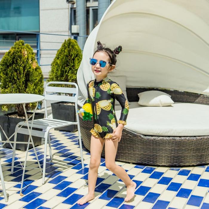 Kid's Swimwear Girls Korean-style Pineapple Pattern Sun-resistant Long Sleeve Princess One-piece Briefs Children Hot Springs Swi