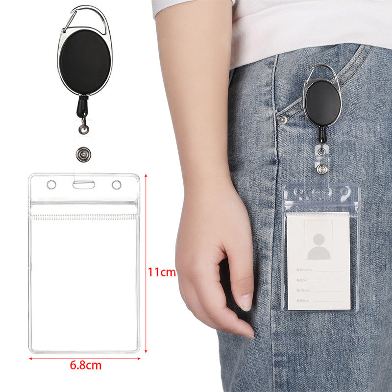 1Pcs Hot Women Male Credit Visit Bus Credit Card Case Retractable Badge Holders With Reel Clip And Clear ID Card Holder Dropship