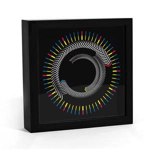 Image 3 - חידוש עץ זמן מסגרת כיכר שולחן שעון מסתובב צלחת חצים צבעוני שעון קיר מודרני עיצוב שולחן עבודה גרפי אמנות שעון