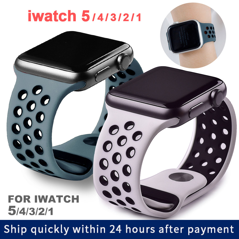 Soft Silicone Replacement Sport Band For Apple Watch 38mm 40mm Series 1 2 3 4 5 42mm 44mm Wrist Bracelet Strap For IWatch Sports