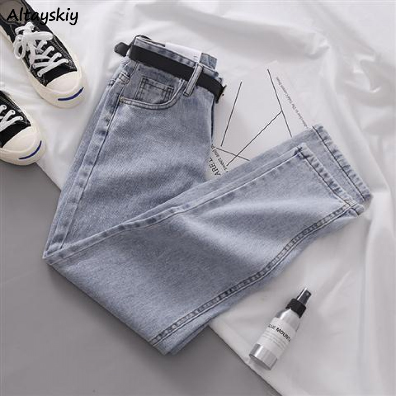 Jeans Women Ankle-length Simple High Waist Korean Style Harajuku Straight Streetwear Solid Womens Trousers Students Loose Female