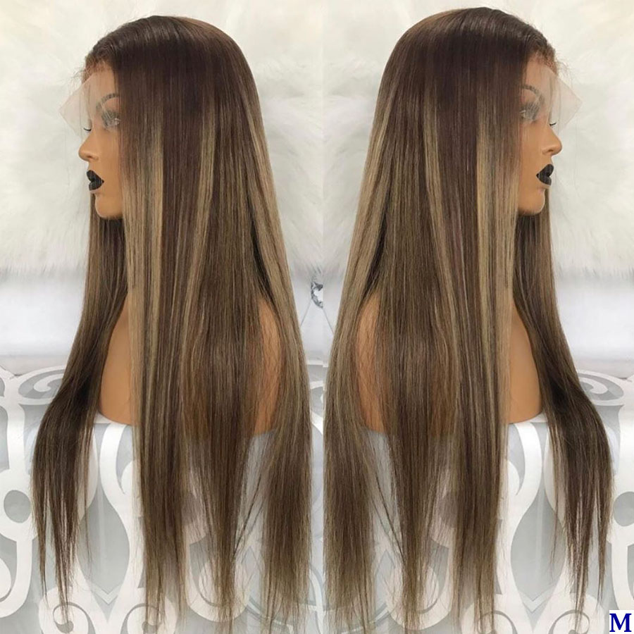 Pre Plucked Highlight Brown 13X6 Lace Front Human Hair Wigs With Bleached Knots Peruvian 180Density Silk Base Lace Front Wigs