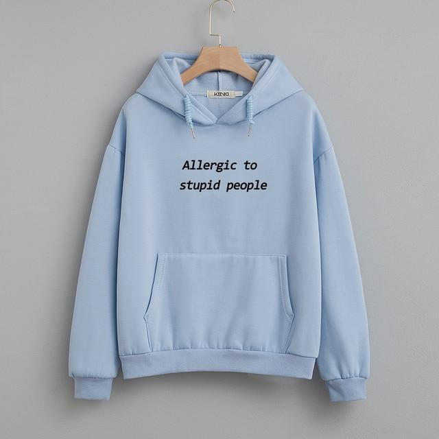 Cotton Sweatshirt Women Oversized Hoodie Female Harajuku Allergic To Stupid People Letter Print Sweatshirts Kpop Plus Size Tops 2