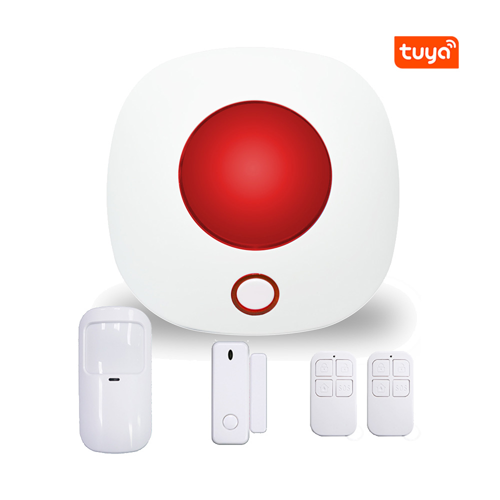 Wireless Siren With Strobe Light Base On Tuya Intelligent Smart Life Apps Control Built In Door Open Sensor PIR Motion Detector