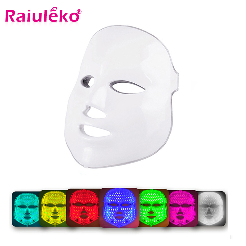 Beauty Photon LED Facial Mask Therapy 7 colors Light Skin Care Rejuvenation Wrinkle Acne Removal Face Beauty Spa  Instrument-in Face Skin Care Tools from Beauty & Health