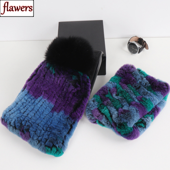 Hot Sell Women Good Elastic Real Rex Rabbit Fur Scarf Hat Sets Winter Warm Lady Knitted Natural Fur Scarves Hats Set Wholesale