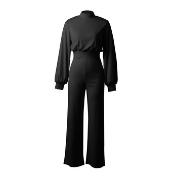 Hot sale 2019 autumn and winter new women jumpsuit Solid knit straight Ful sleeve lhigh collar hollow backless Long Siamese suit 8
