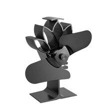Stove-Fan Fireplace-Fan Wood Heat-Powered for Eco-Friendly Two-Leaf Fans Black