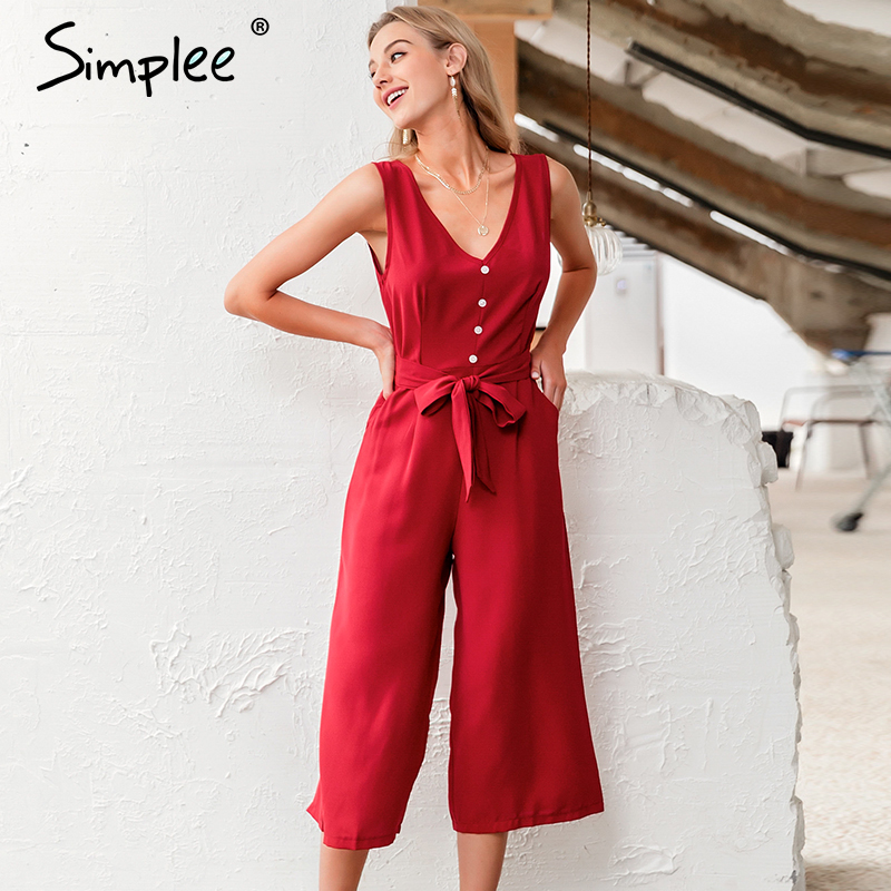 Simplee Vest V-neck Jumpsuit Romper Women Elegant Bow Tie Office Ladies Jumpsuit Casual Streetwear Party Female Long Jumpsuit
